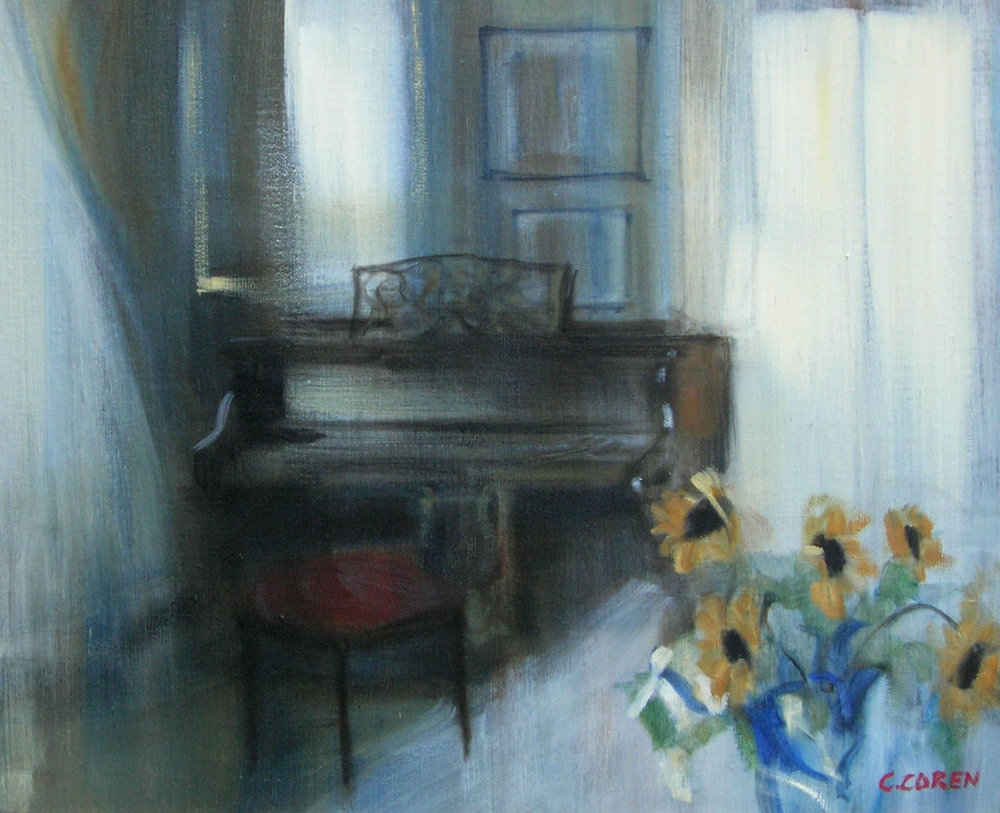 PIANO AUX TOURNESOLS oil, 24 x 20 in.
