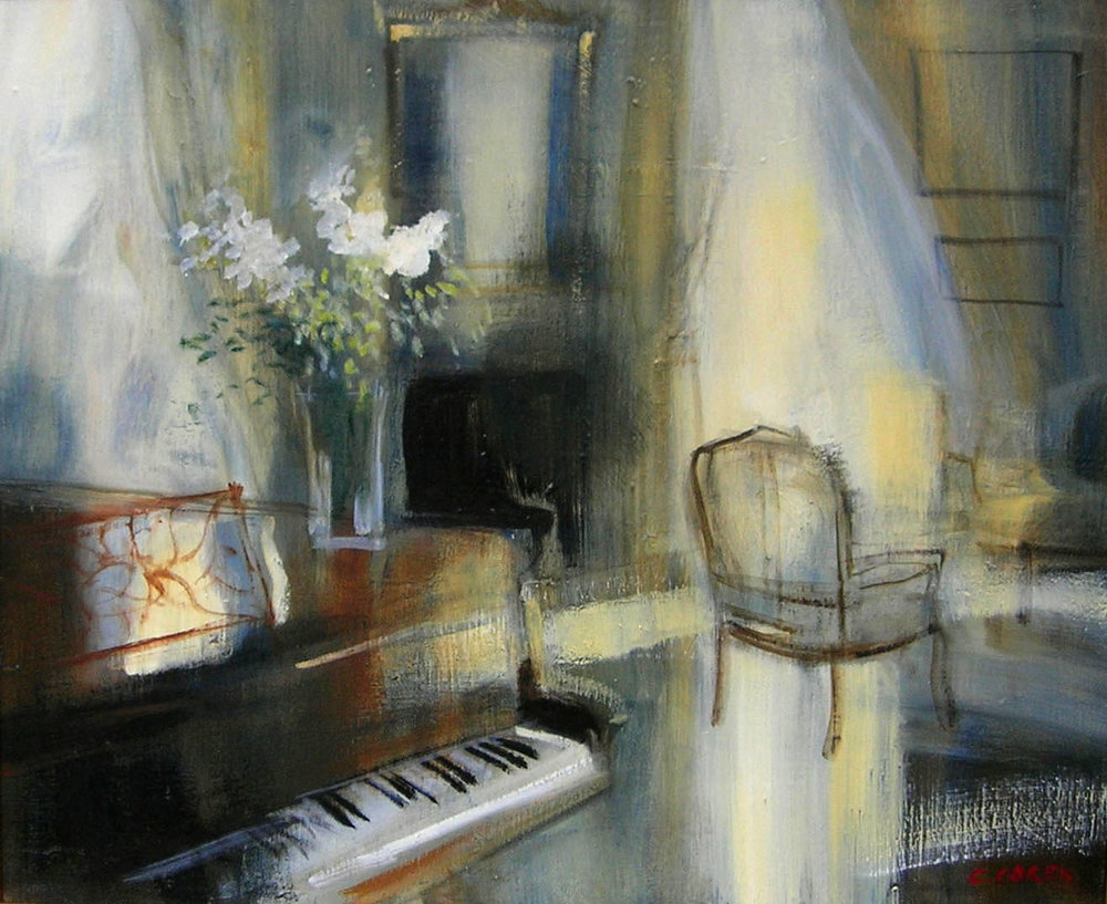 AU PRES DU PIANO oil, 29 x 24 in.