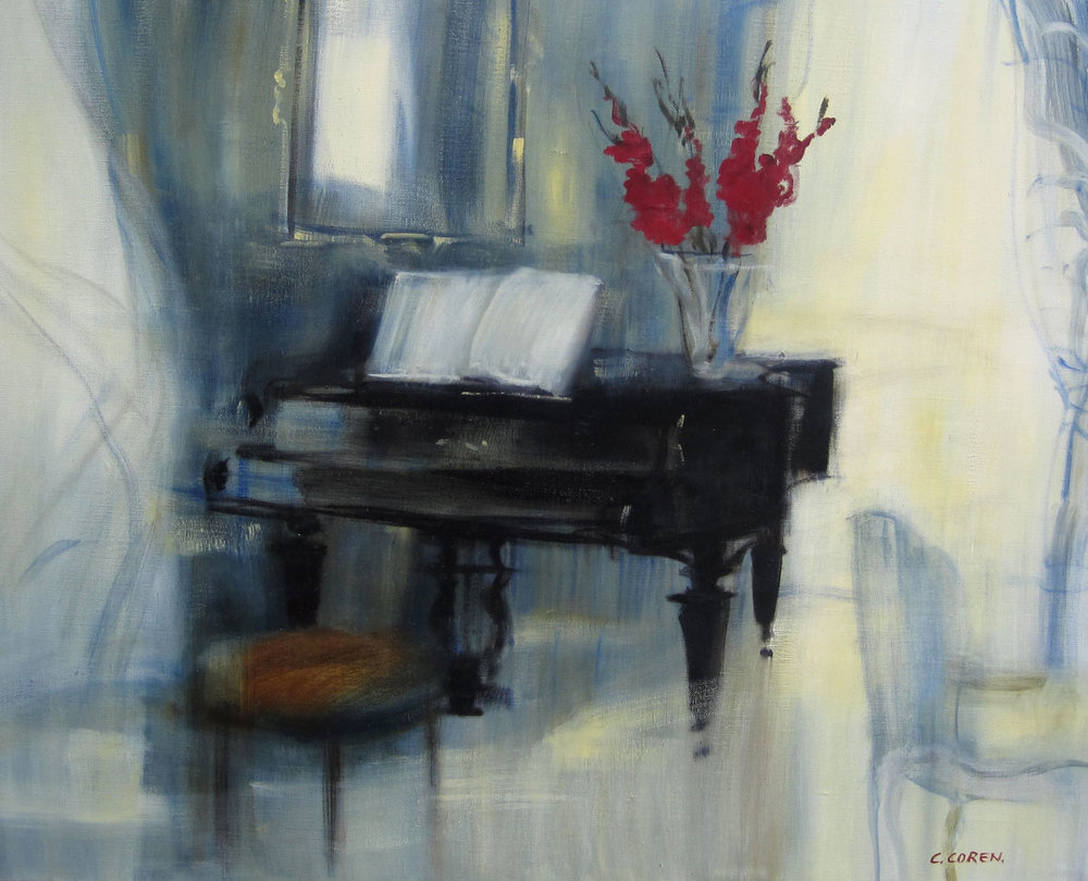 LE TABOURET ROUGE (PIANO)  oil, 40 x 32 in.