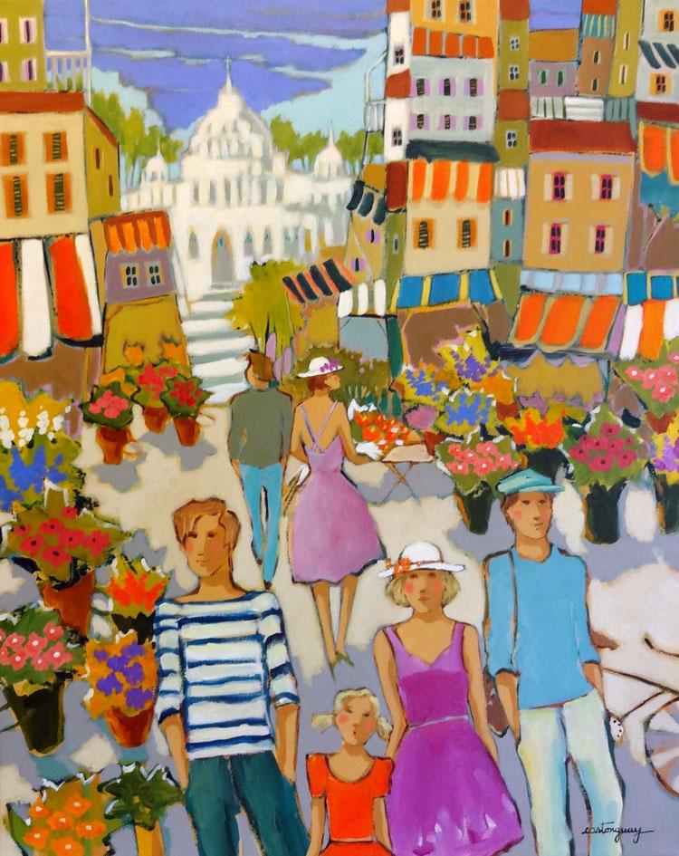 PLACE DU MARCHÉ DE FLEURS acrylic, 16 x 20 in.