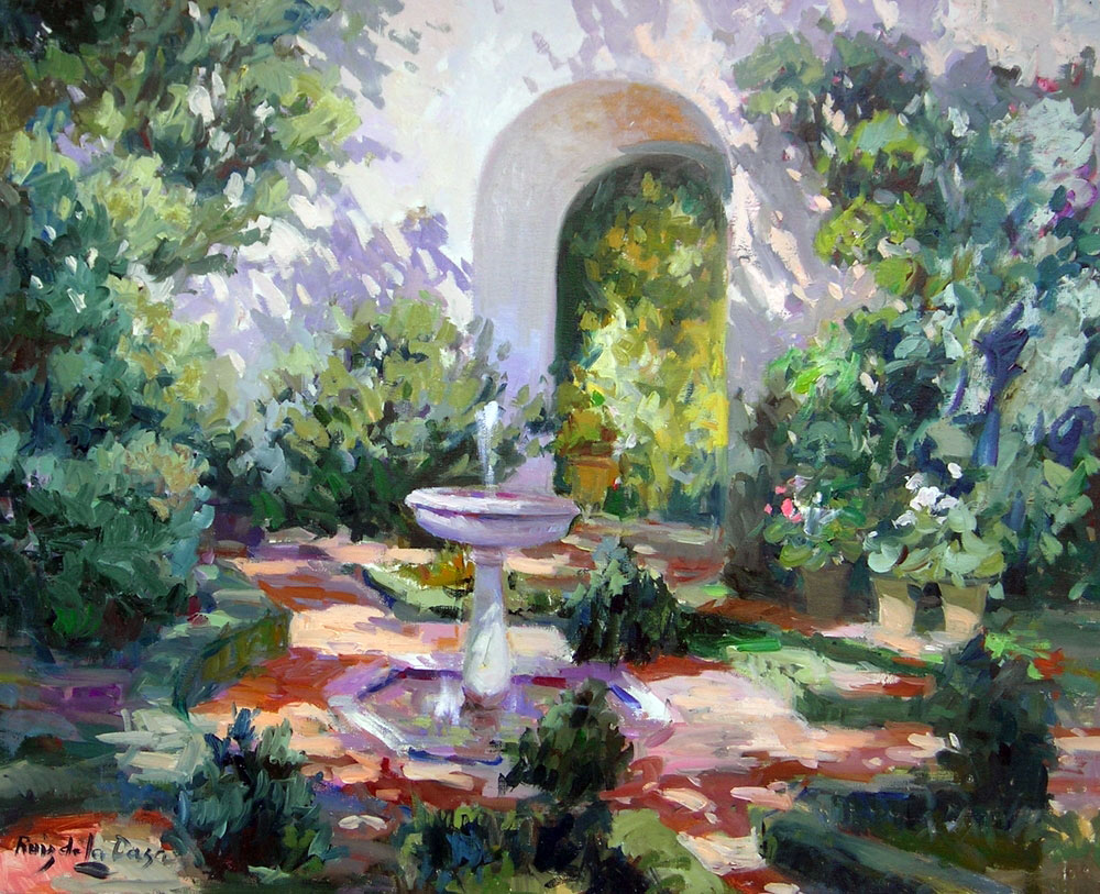 REALES ALCAZARES, SEVILLA - FOUNTAIN  oil , 30 x 24 in.