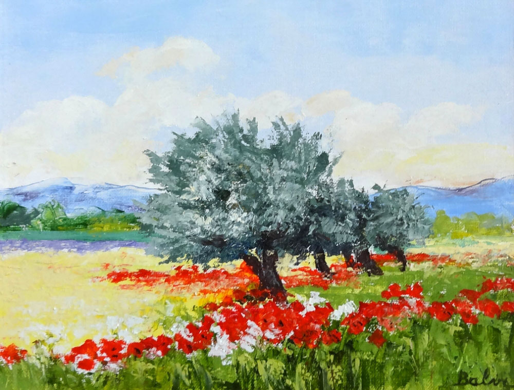 OLIVIER DAUX LES COQUELICOTS  oil on canvas, 14 x 11 in.