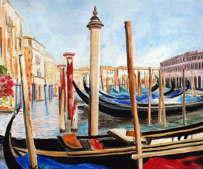 GONDOLES VENISE  oil on canvas, 22 x 18 in.