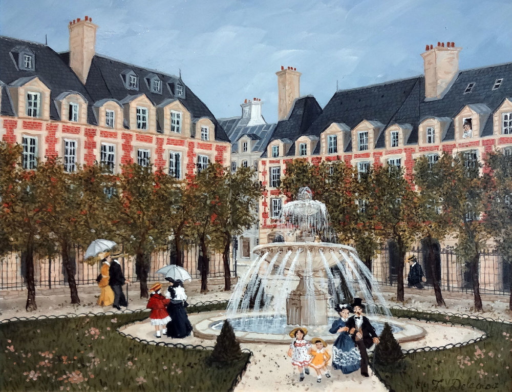 PLACE DES VOSGES  acrylic on board, 14 x 10.5 in.