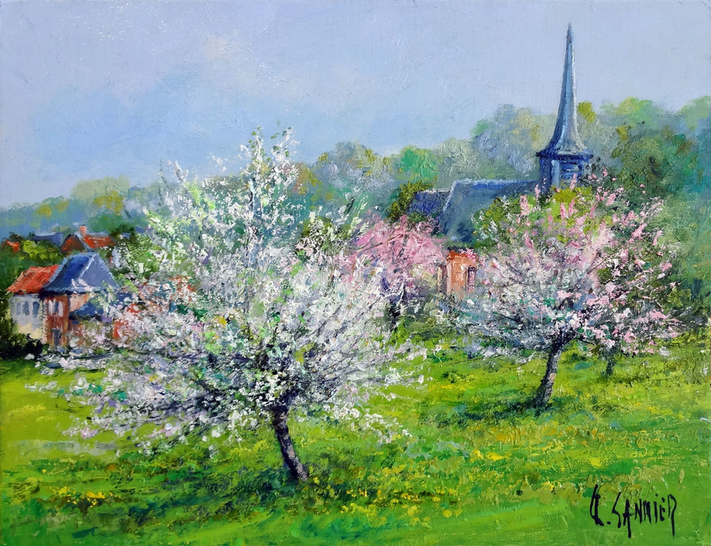POMMIERS EN FLEURS (VILLAGE PICARD)  oil, 14 x 11 in.