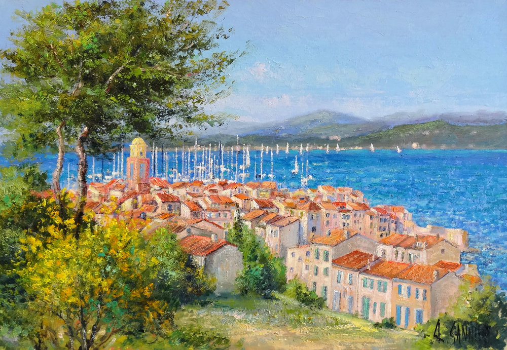 St Tropez au Printemps, 22 x 15 in.