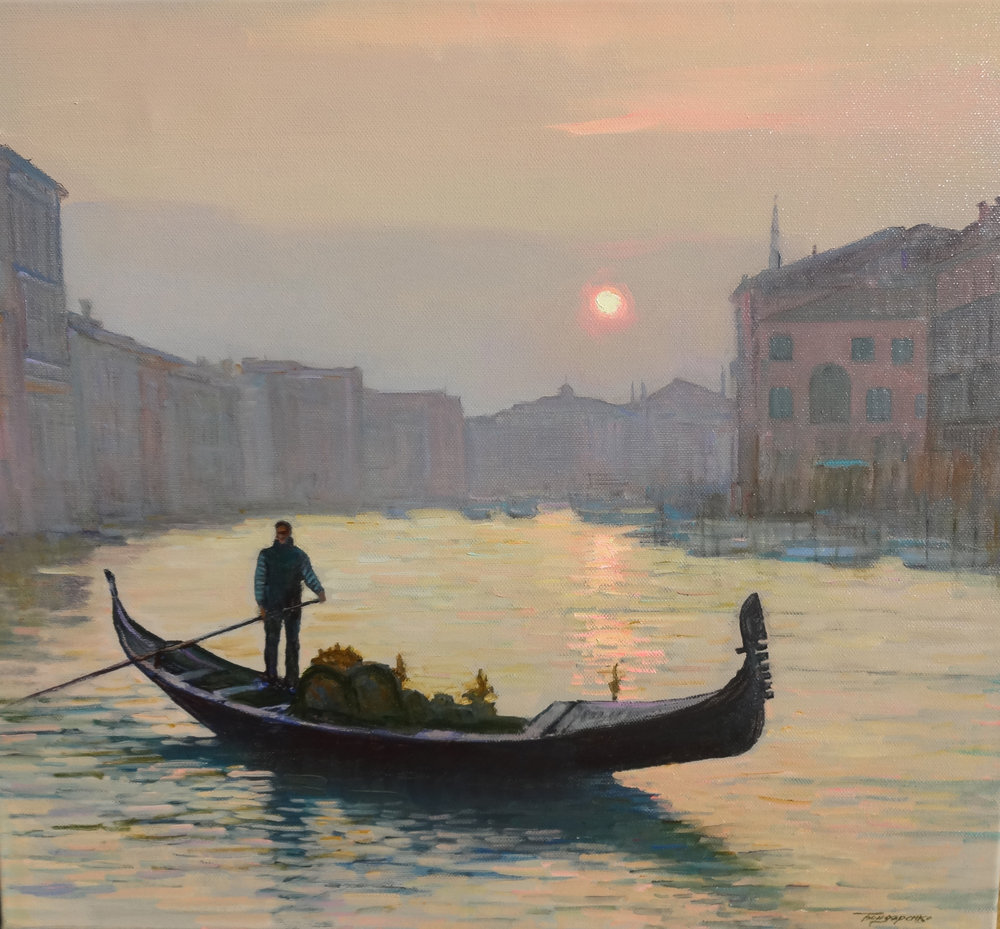 VENICE IN THE EVENING ON THE GRAND CANAL     oil, 20 x 18 in.