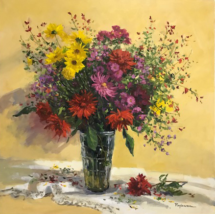 THE FLOWERS OF THE GARDEN  oil, 31.5 x 31.5 in.