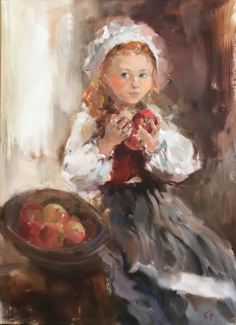 LITTLE GIRL WITH APPLES  oil,    40 x 27.5 in.