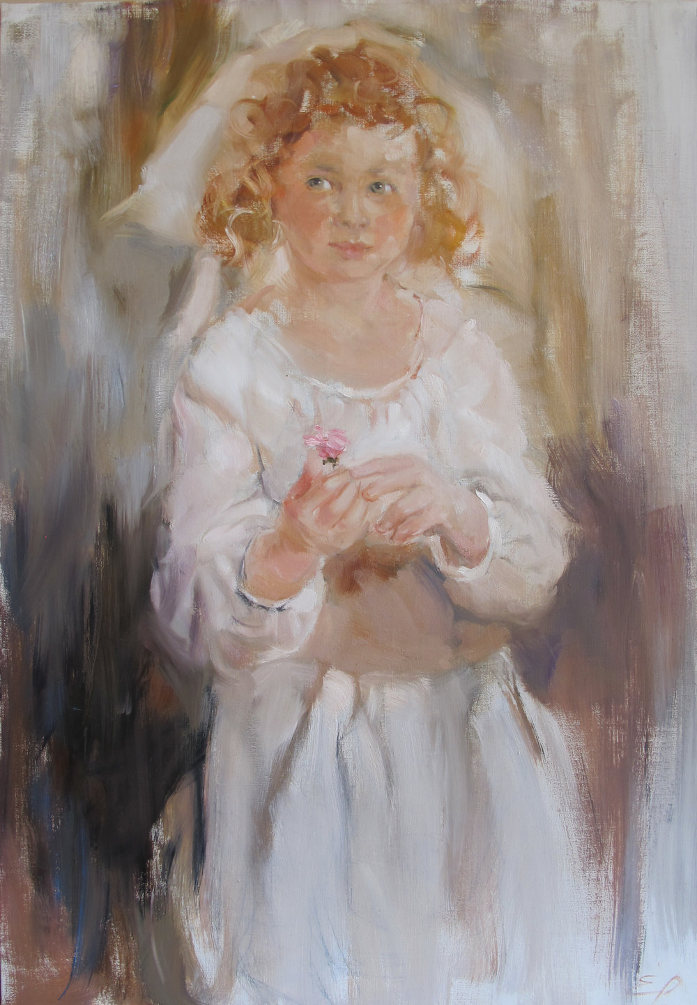 LITTLE GIRL WITH PINK ROSE  oil,    40 x27.5 in.