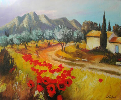 LES ALPILLES A EYGALIERES   oil, 18 x 15 in.