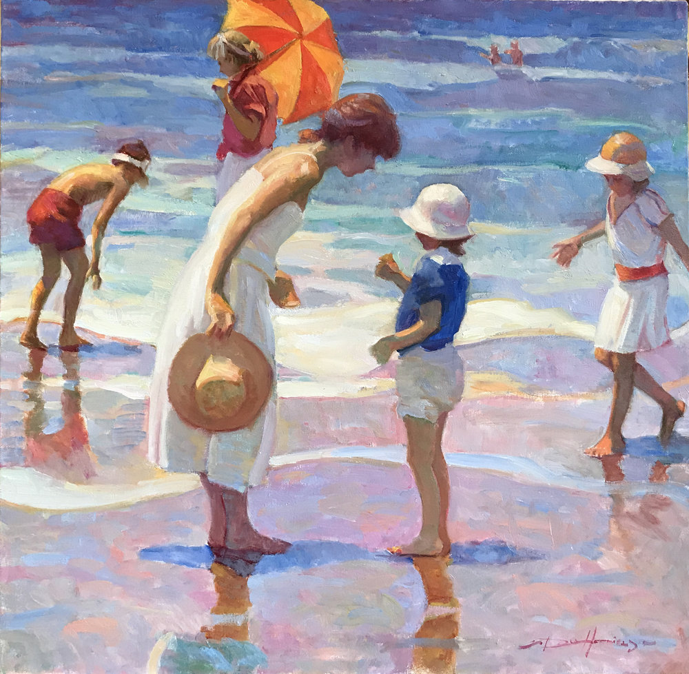 Summer at the Seashore oil, 30 x 30 in.  (This Painting has Sold)
