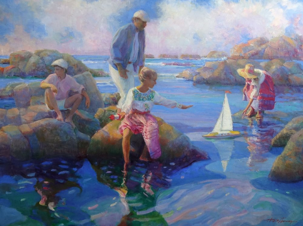MEMORIES AT THE COVE oil, 48 x 36 in.