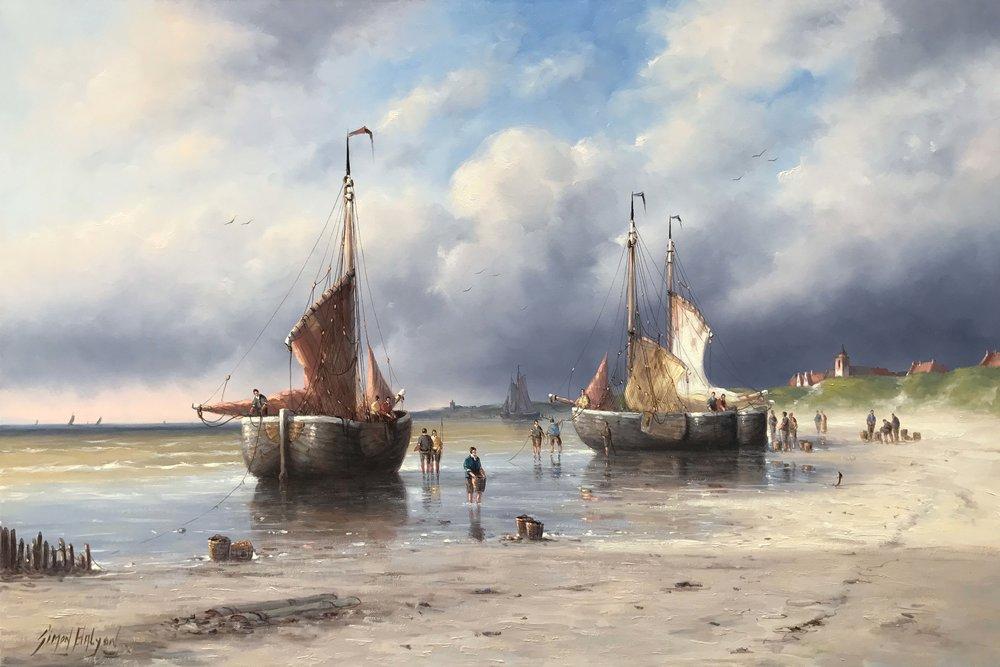 Working on the Dutch Coastline 24 x 36 in.