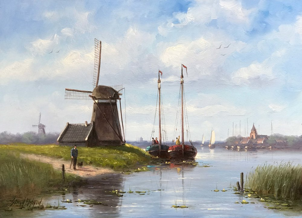 Dutch Riverside  oil on panel, 18 x 13 in.