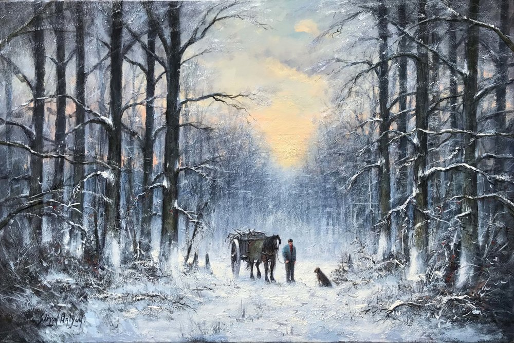 A Winters Evening  oil , 24 x 36 in.