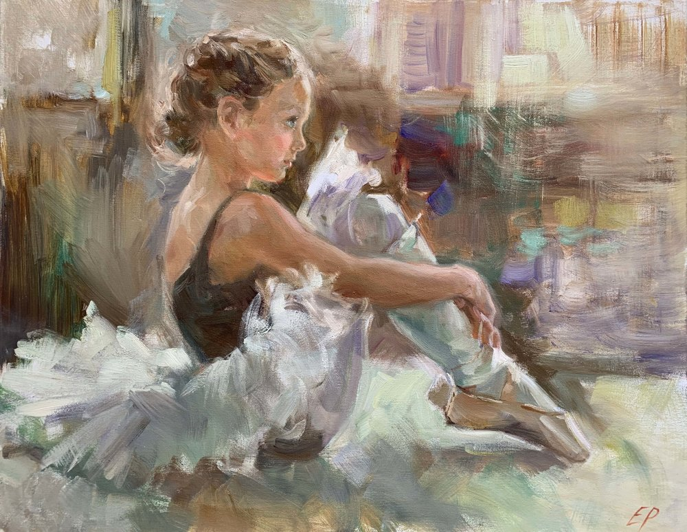 SEATED YOUNG BALLERINA   oil, 31 x 24 in.