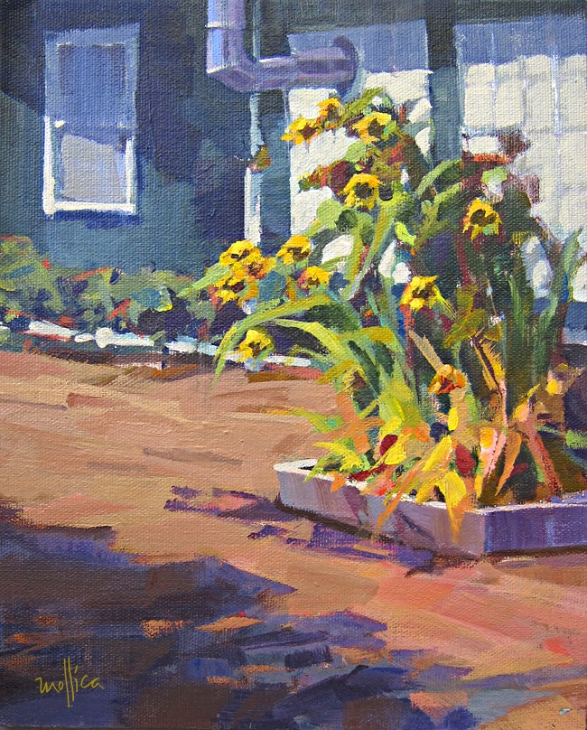 Landscape painting with sunflowers