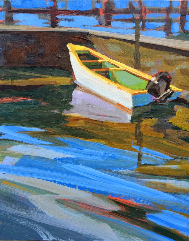 Tuscany Landscape Painting With Boat