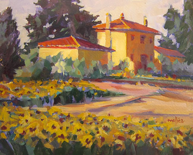 Tuscany Landscape Painting With Sunflowers