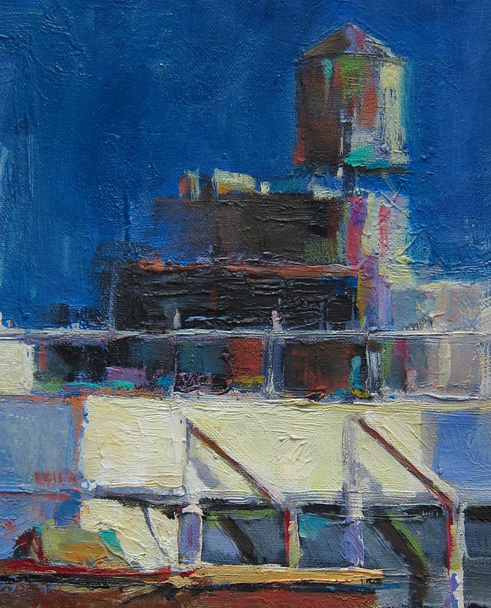 """Soho Watertowers 8x10"""" Oil $225"""