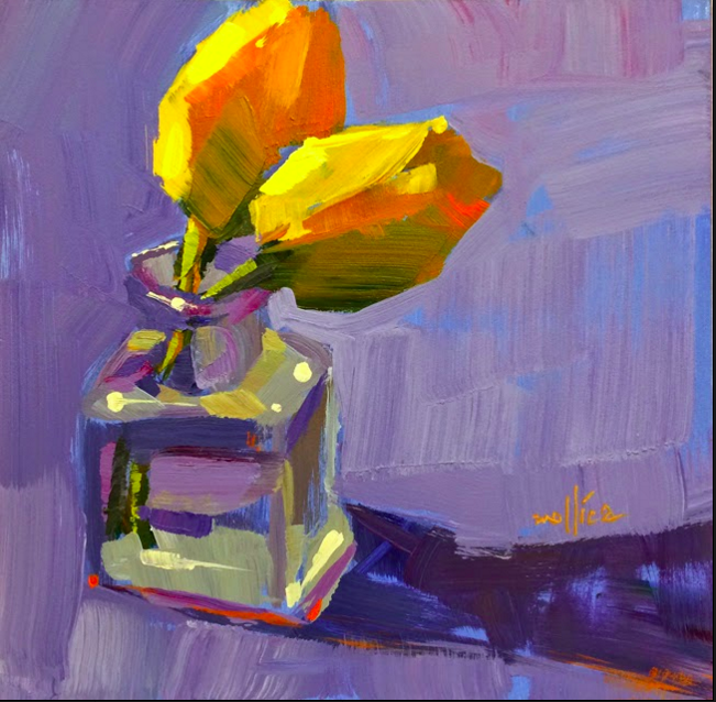 "Yellow Tulips Demo Acrylic  8x8""  SOLD"