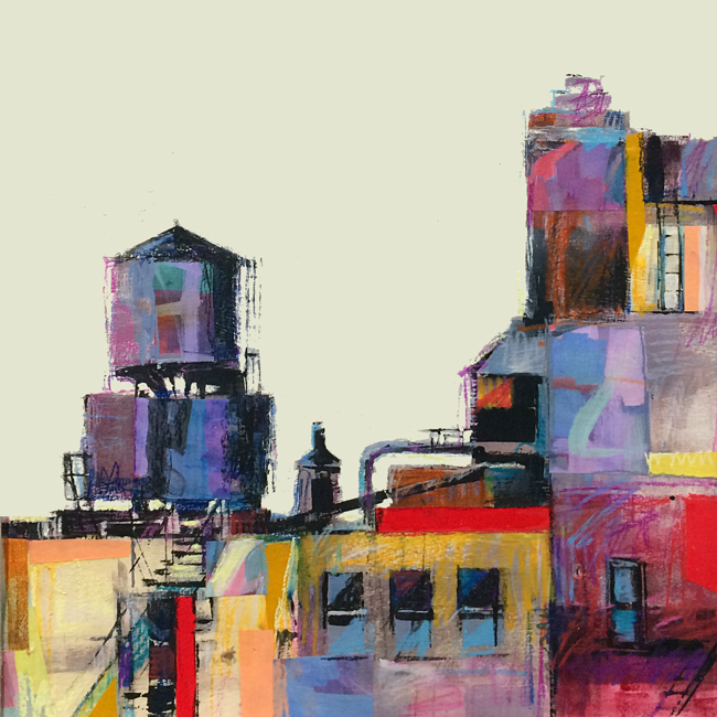 "33rd Street Watertowers  15x15""  Mixed Media  SOLD"