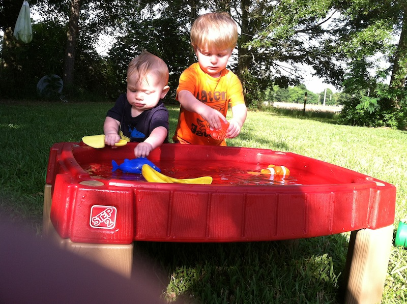Playing at the water table.JPG