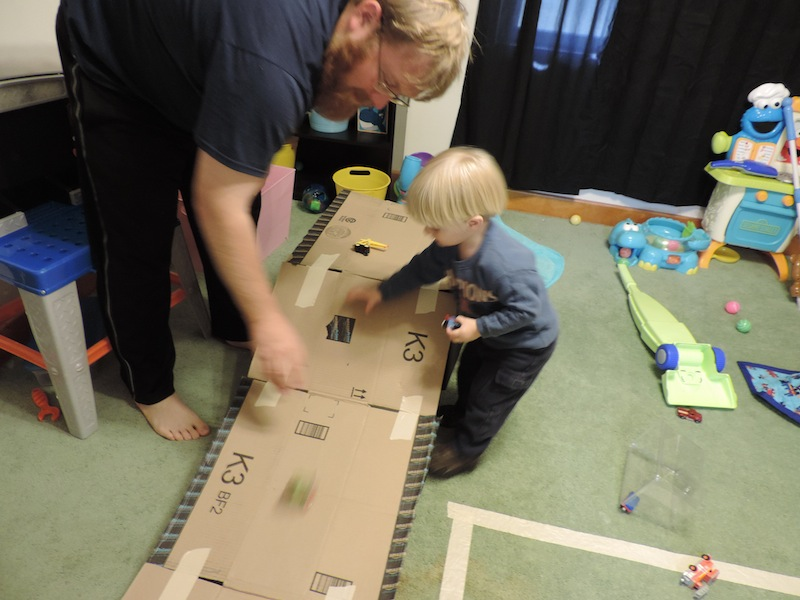 4 car ramp Indoor Activities to keep a toddler happy and busy.JPG