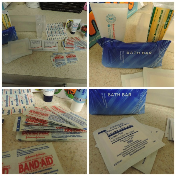diaper bag first aid kit in an old crystal light contents 2.jpg