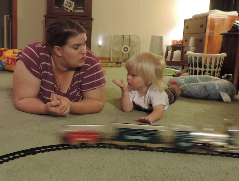 Mama nd Ry with train.JPG