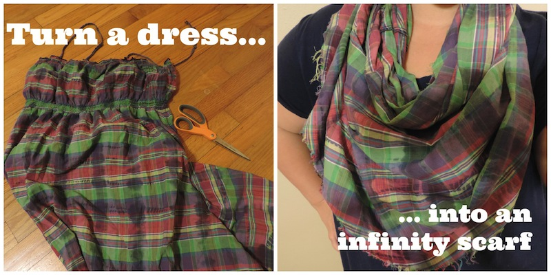 turn a dress into an infinity scarf.jpg