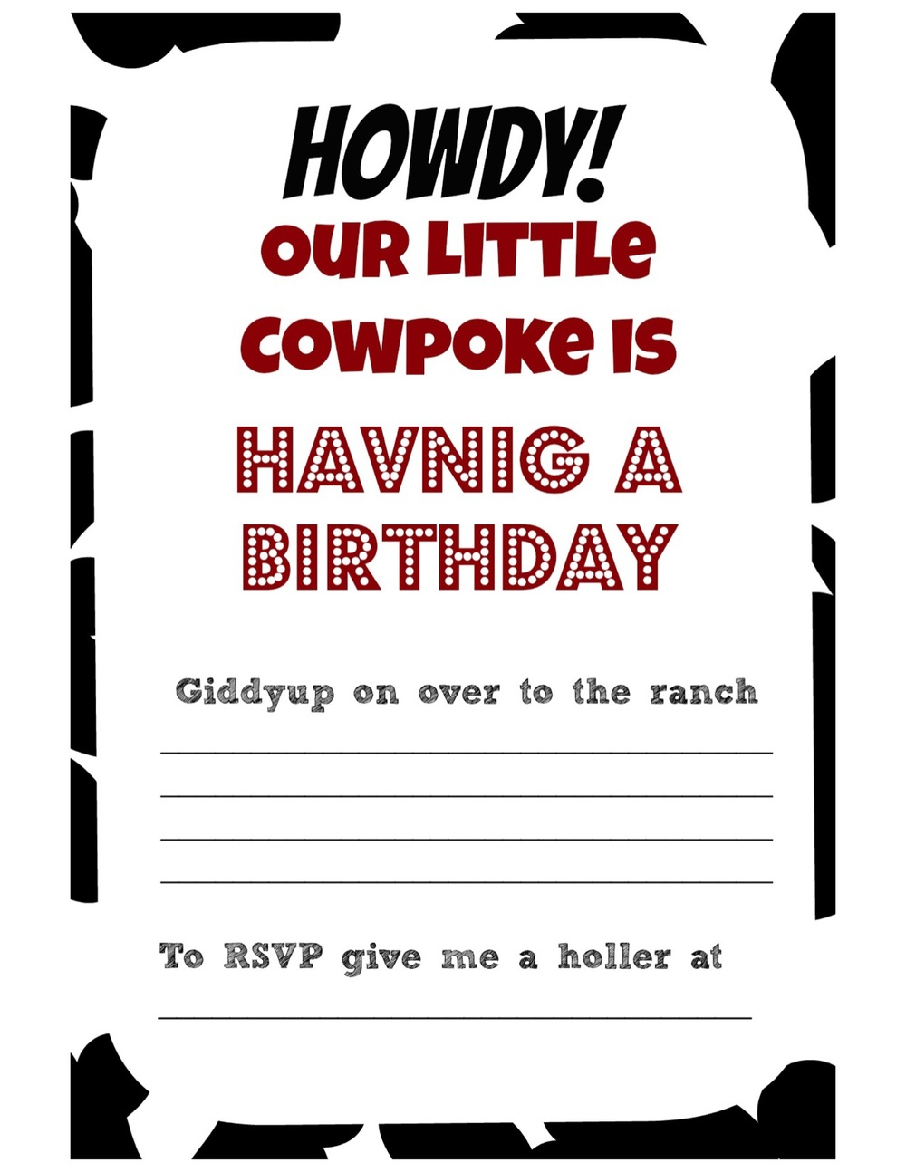 Cowboy birthday party on a BUDGET! And FREE invitation printable ...