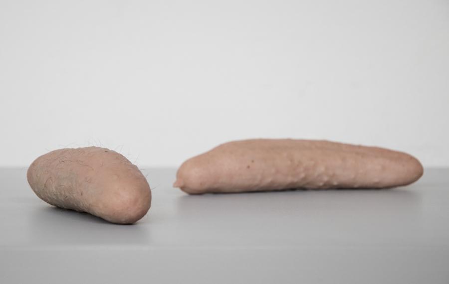 Cucumbers ,toned silicone, human hair,2014 @Dušan Váňa