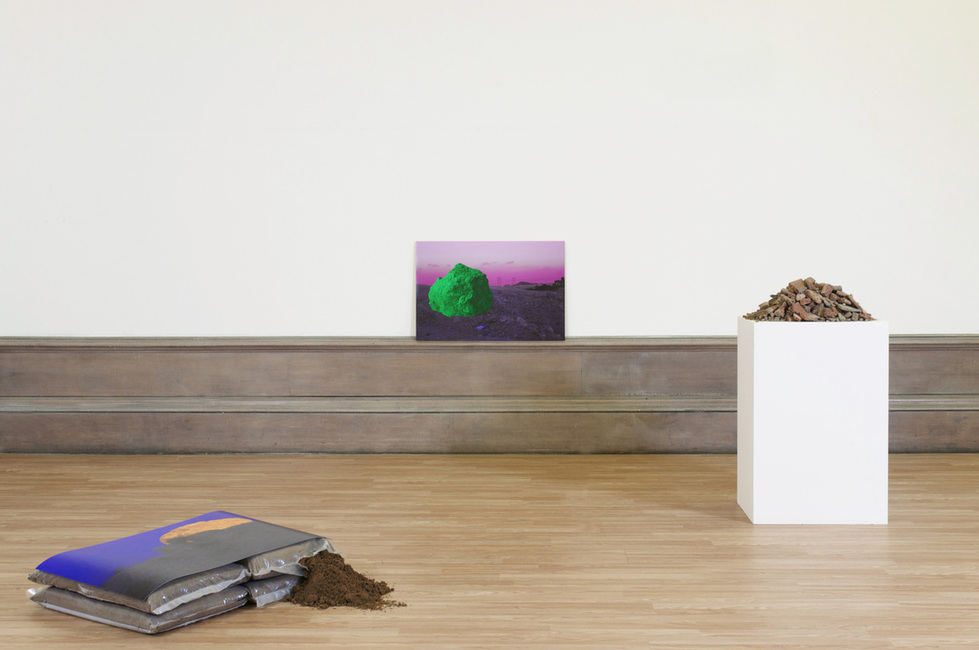 Experiments in Diasporic Space II, Narratives of Conflict and Longing (Colourspace),  digital print, building sand, plywood, rubble, plinth, 2014 @Sulaiman Majali (A collaboration with  Sharif Elsabagh )