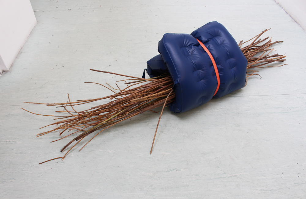 Tight orange band,  folded air bed, ratchet strap, twigs, 2015 @DongKwang Jo