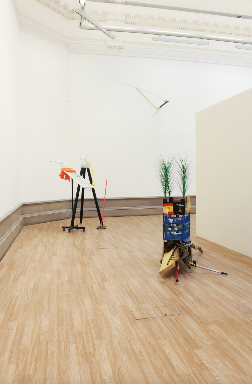 Untitled,  a paper box, plastic boxs, woods, diverse pipes, a iron box with wheels, artificial plants, 2015 @DongKwang Jo