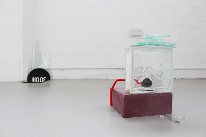 Circles connecting with collapsed time,  mirror, broken glass fragments, half cut sign board, black sponge ball, plaster block, glass brick, hoop, etc, 2015 @DongKwang Jo
