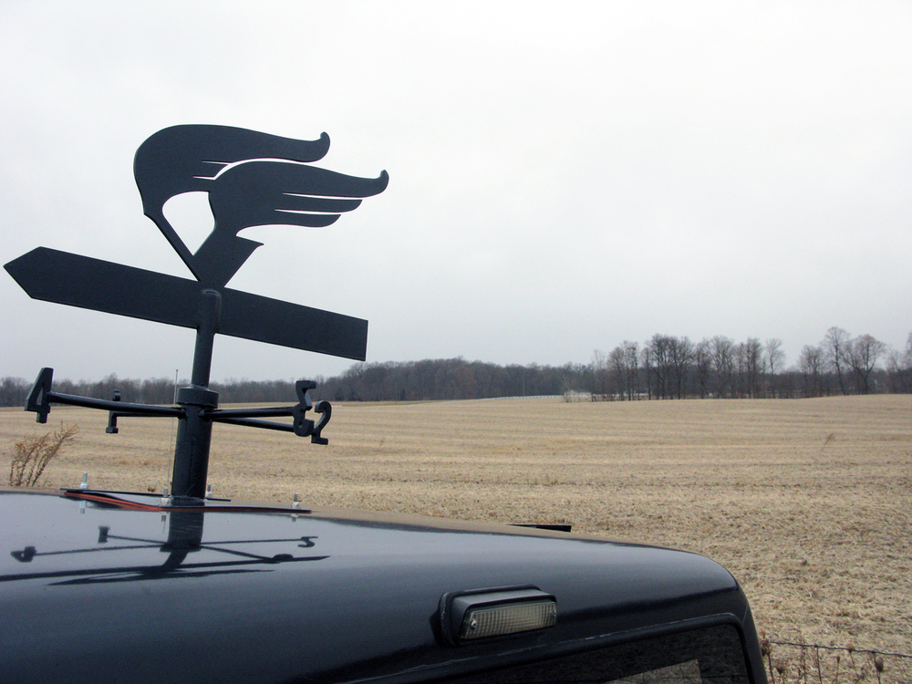 Blue Rider - weathervane , 1986 Ford Ranger truck and weathervane, 2010 @Patrick Beaulieu  Photo by Alexis Pernet