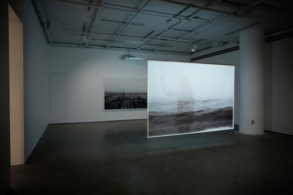 Mirari , documentation of the installation, Galerie de l'UQAM, Digital printing and HD video, 152 x 222 cm, 7 min, 2013 @Léna Mill-Reuillard