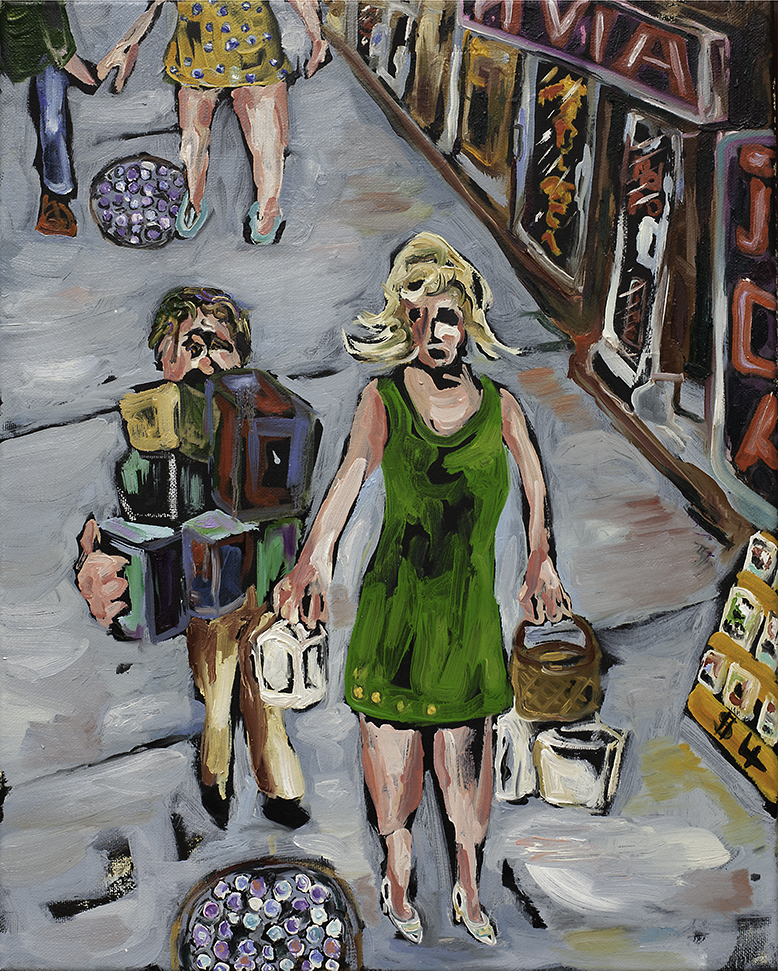 Shoppers , oil, acrylic and latex on canvas, 2015 @Joe Carrozzo