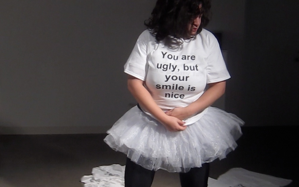 One Fine Day, performance, text on T shirt, 2014 @Katya Grokhovsky, photo: Yan Gi Gheng