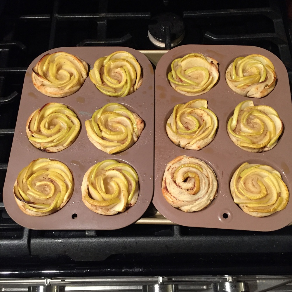 Homemade apple rosettes for dessert