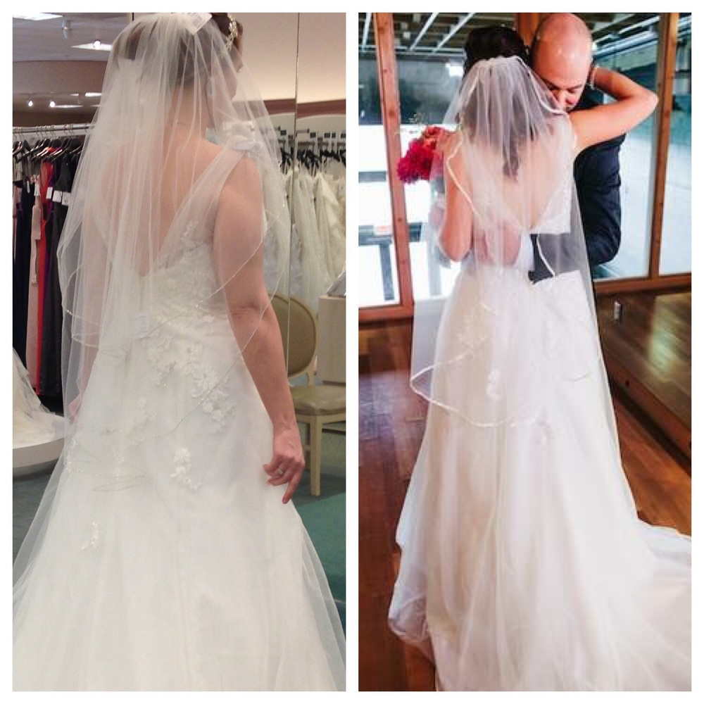 Trying on my wedding dress in January and wearing my wedding dress in September. Wedding photo by Jason Quigley.