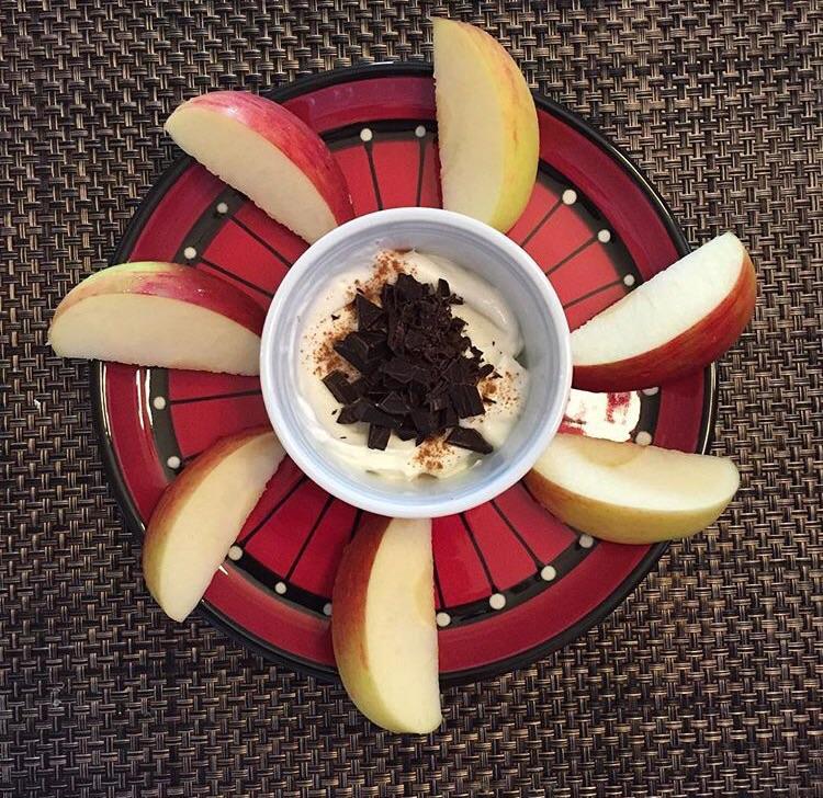 Apple, Greek yogurt, dark chocolate