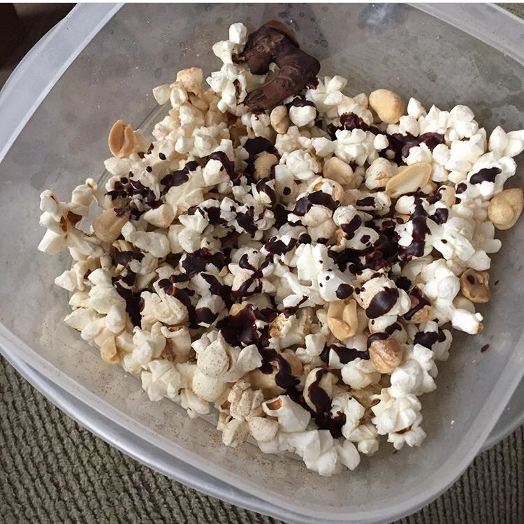 Popcorn, peanuts, dark chocolate (also known as Unicorn Munch from Fit Girls Guide Detox)