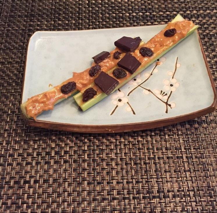 Celery, peanut butter, raisins, dark chocolate