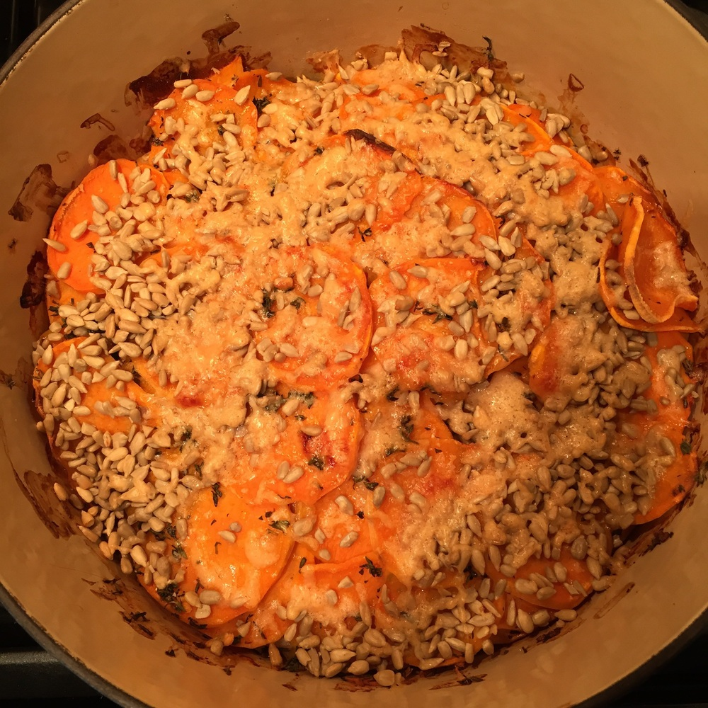 Seed & Parmesan-Crusted Scalloped Sweet Potatoes