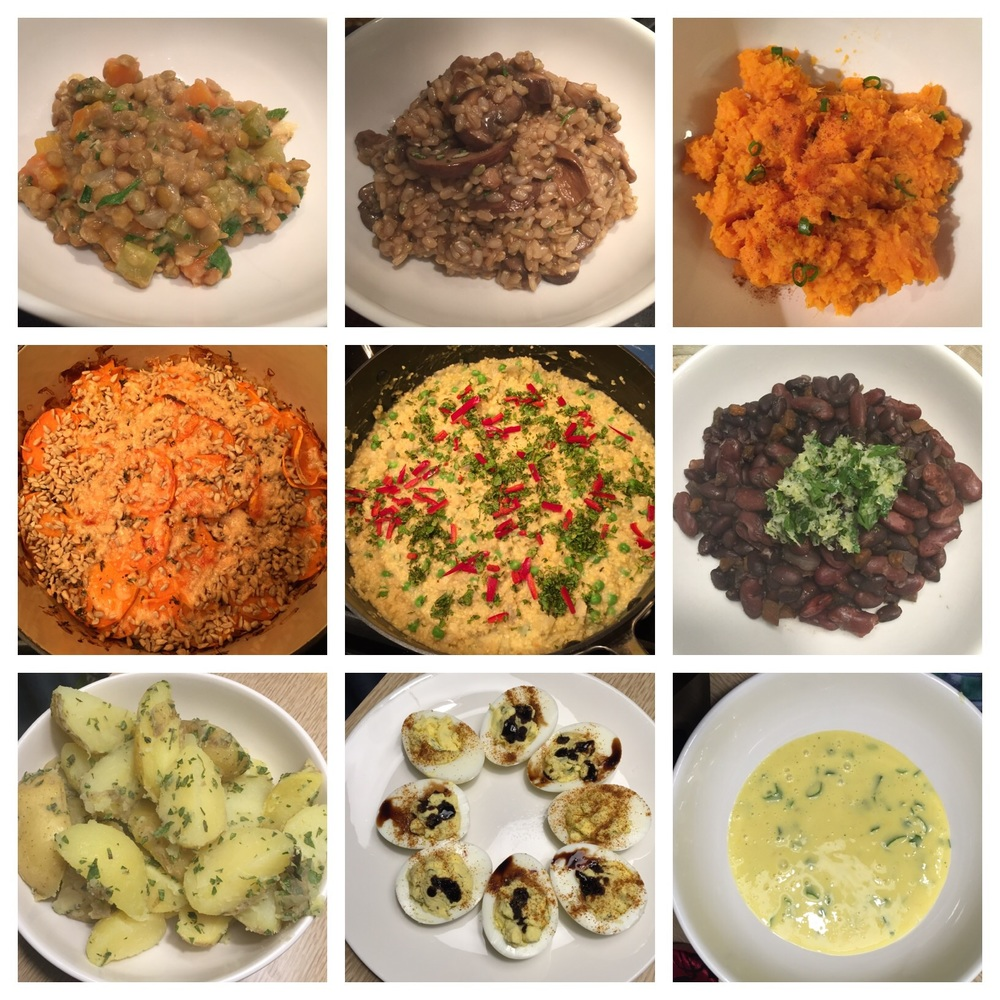 Recipes I made in my online Clean Eating Institute class, which taught me healthy, balanced nutrition: Warm Lentil Salad with Confetti Vegetables, Wild Mushroom Herbed Risotto, Whipped Sweet Potatoes with Chives, Hemp Seed & Parmesan-Crusted Scalloped Sweet Potatoes, Sorghum Risotto with Artichoke Hearts & Peas, Braised Northern & Black Turtle Beans, Herb & EVOO Baby Potatoes, Herbed Whipped Deviled Eggs, Roasted Garlic Lemon Aioli