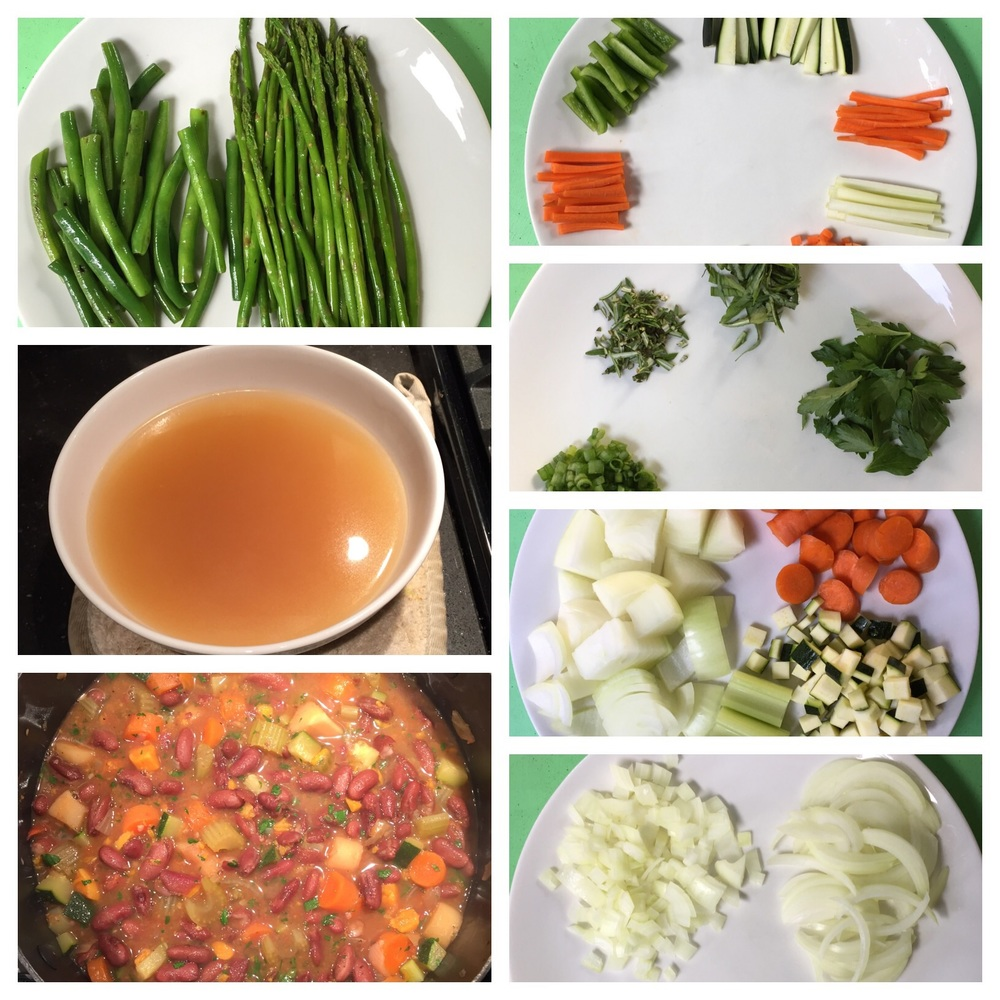Recipes I made in my online Clean Eating Institute class, which taught me healthy, balanced nutrition: Olive Oil-Sauteed Green Beans & Asparagus, Vegetable Stock, Minestrone Vegetable Soup, Veggies, Herbs, Onions & Garlic.
